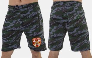 Камуфляжные свободные шорты с нашивкой Росгвардия - купить оптом