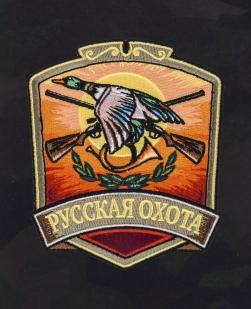 Камуфляжные свободные шорты с нашивкой Русская Охота