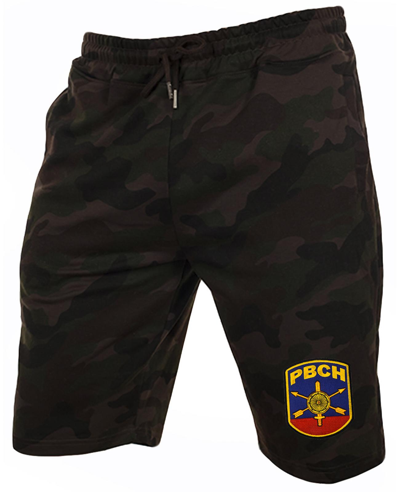 Камуфляжные темные шорты с нашивкой РВСН