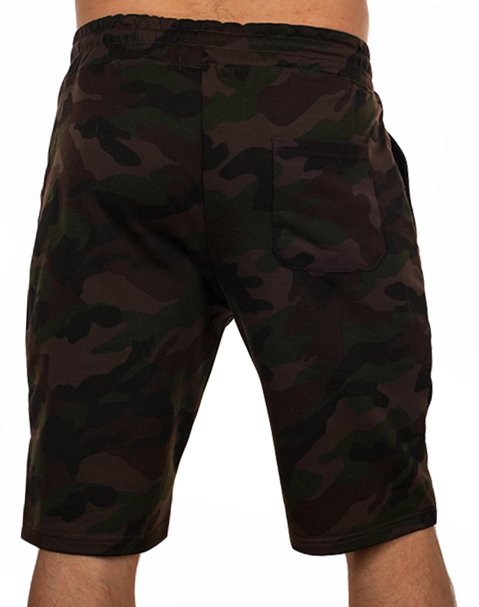 Камуфляжные темные шорты с нашивкой РВСН - купить в розницу