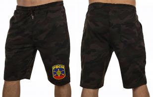 Камуфляжные темные шорты с нашивкой РВСН - купить онлайн
