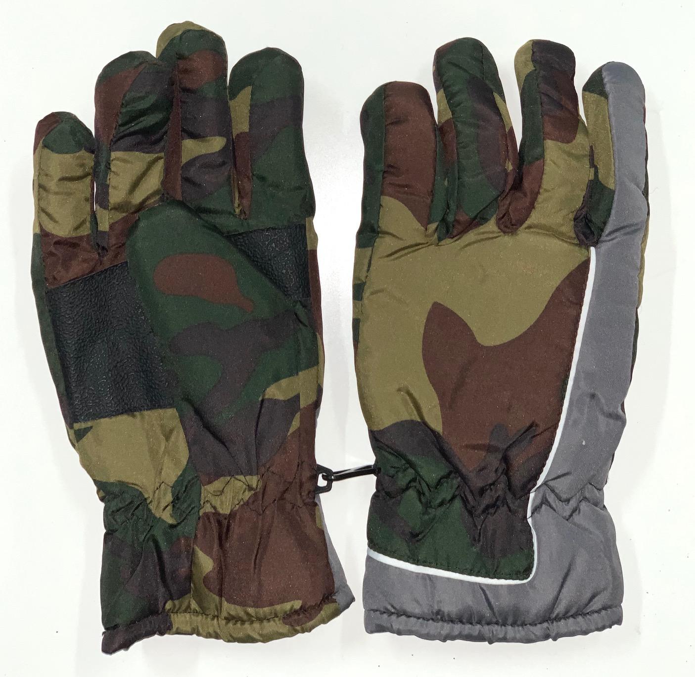Камуфляжные зимние перчатки с серыми вставками