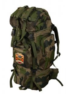 Камуфляжный большой рюкзак с нашивкой Русская Охота - заказать оптом