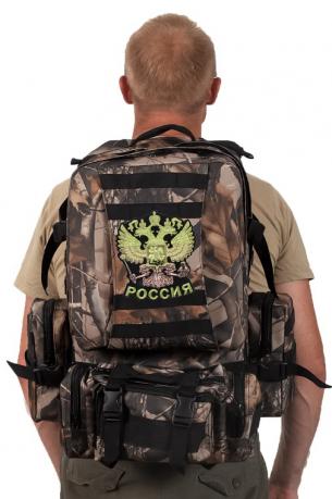 Камуфляжный крутой милитари-рюкзак с нашивкой Герб России