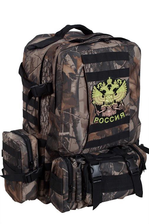 Камуфляжный крутой милитари-рюкзак с нашивкой Герб России - заказать в розницу