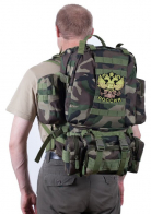 Камуфляжный практичный рюкзак с нашивкой Герб России