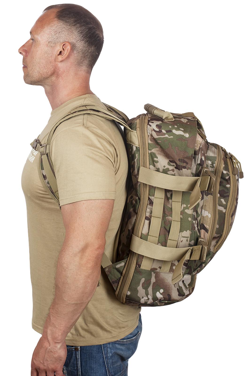 Камуфляжный рюкзак для охотника с нашивкой Русская Охота - купить в розницу
