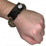 Камуфляжный тактический браслет с ножом и огнивом
