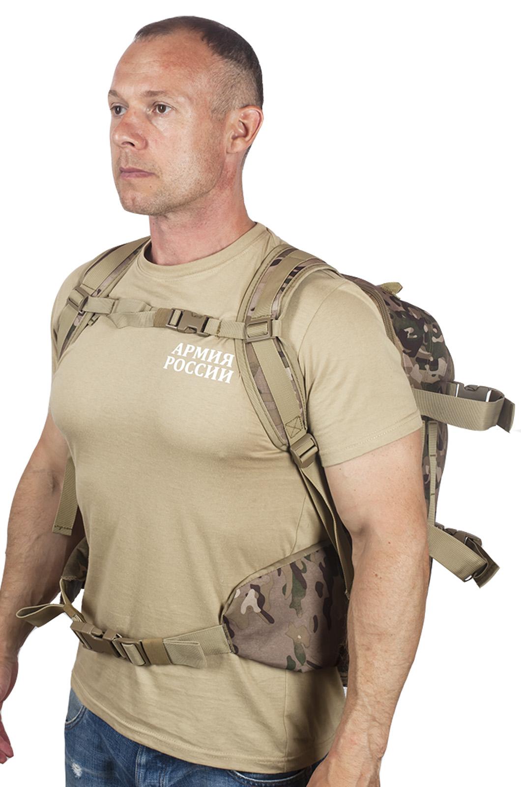 Камуфляжный тактический рюкзак с шевроном Охотничьего спецназа купить в подарок