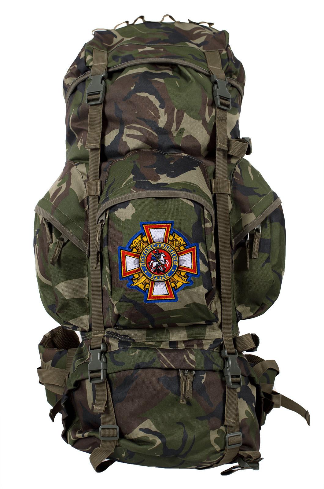 Камуфляжный вместительный рюкзак с нашивкой Потомственный Казак - заказать оптом