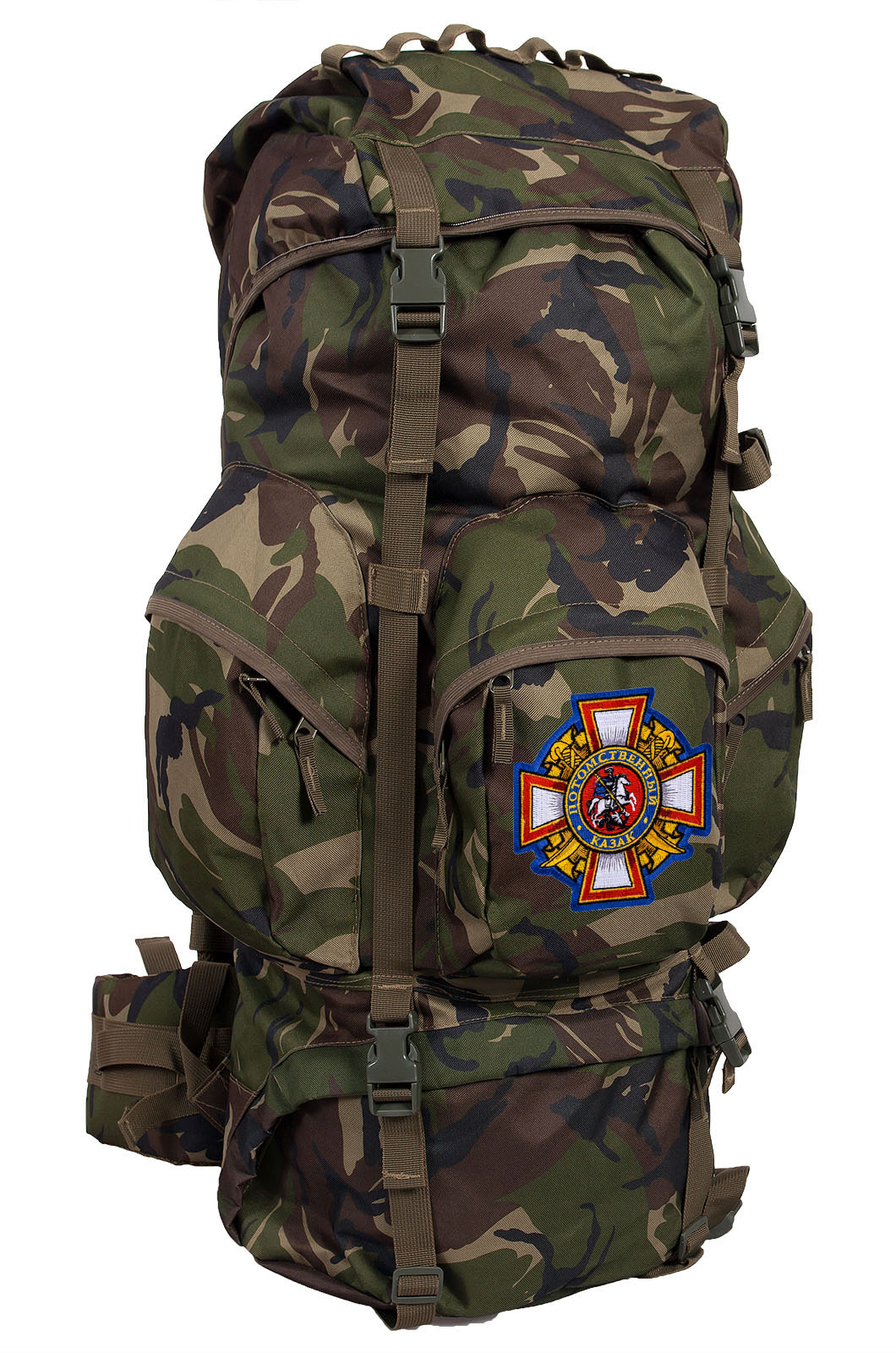 Камуфляжный вместительный рюкзак с нашивкой Потомственный Казак - заказать онлайн