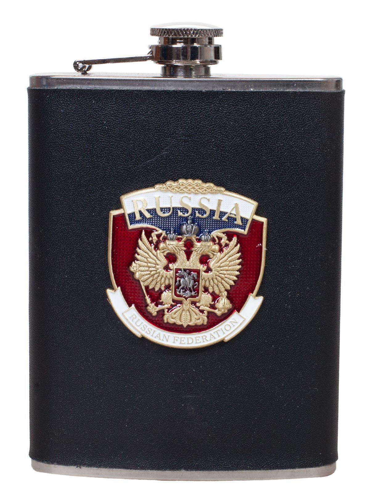 """Карманная фляжка для алкоголя с накладкой """"Russia"""""""