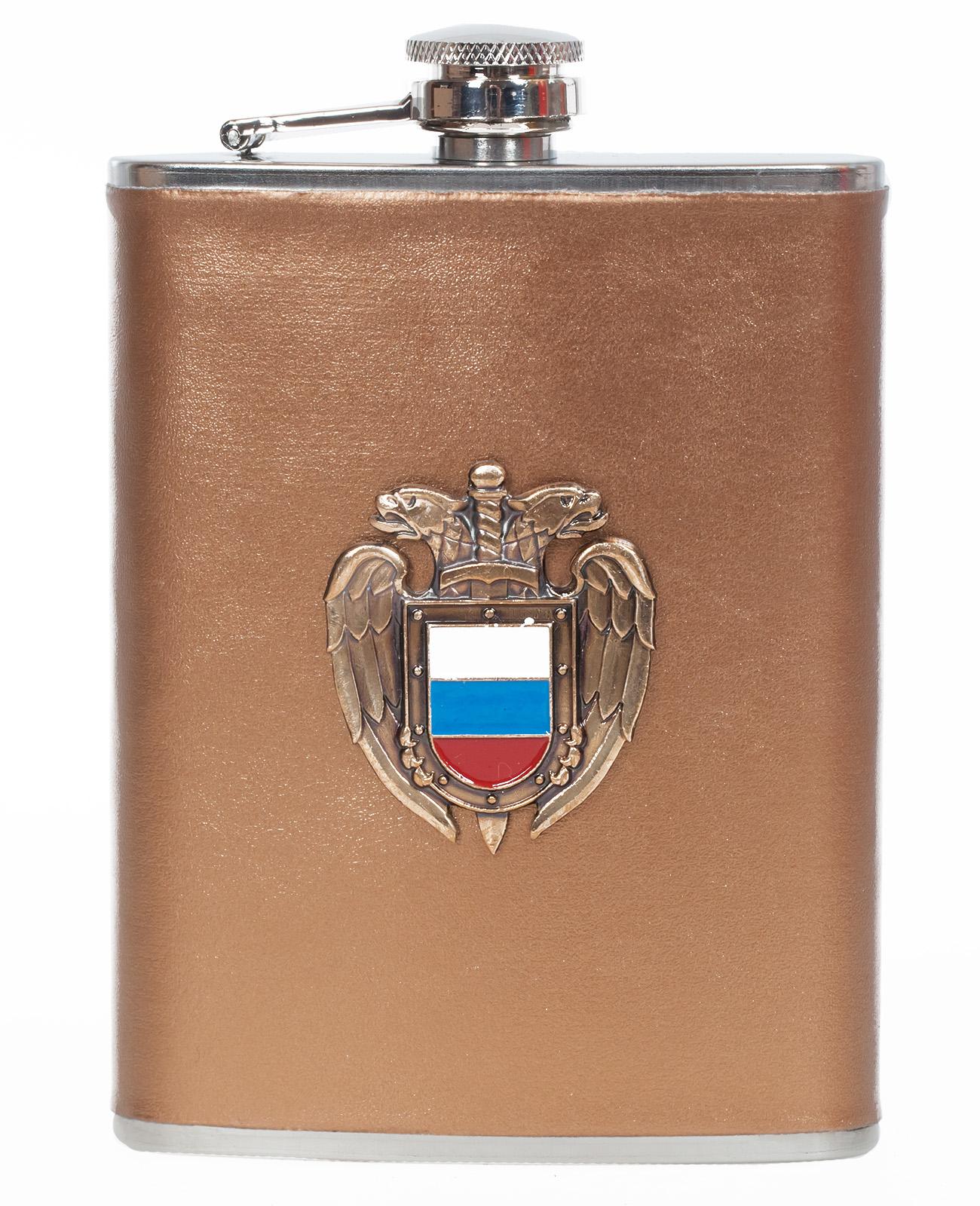 Карманная фляжка с жетоном ФСО России (обтянутая кожей)