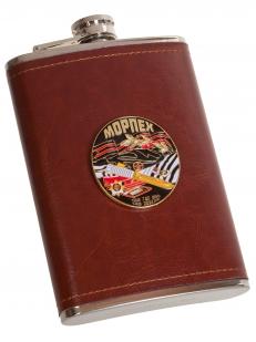 Карманная фляжка в чехле с металлической накладкой Морпех - купить в Венпро