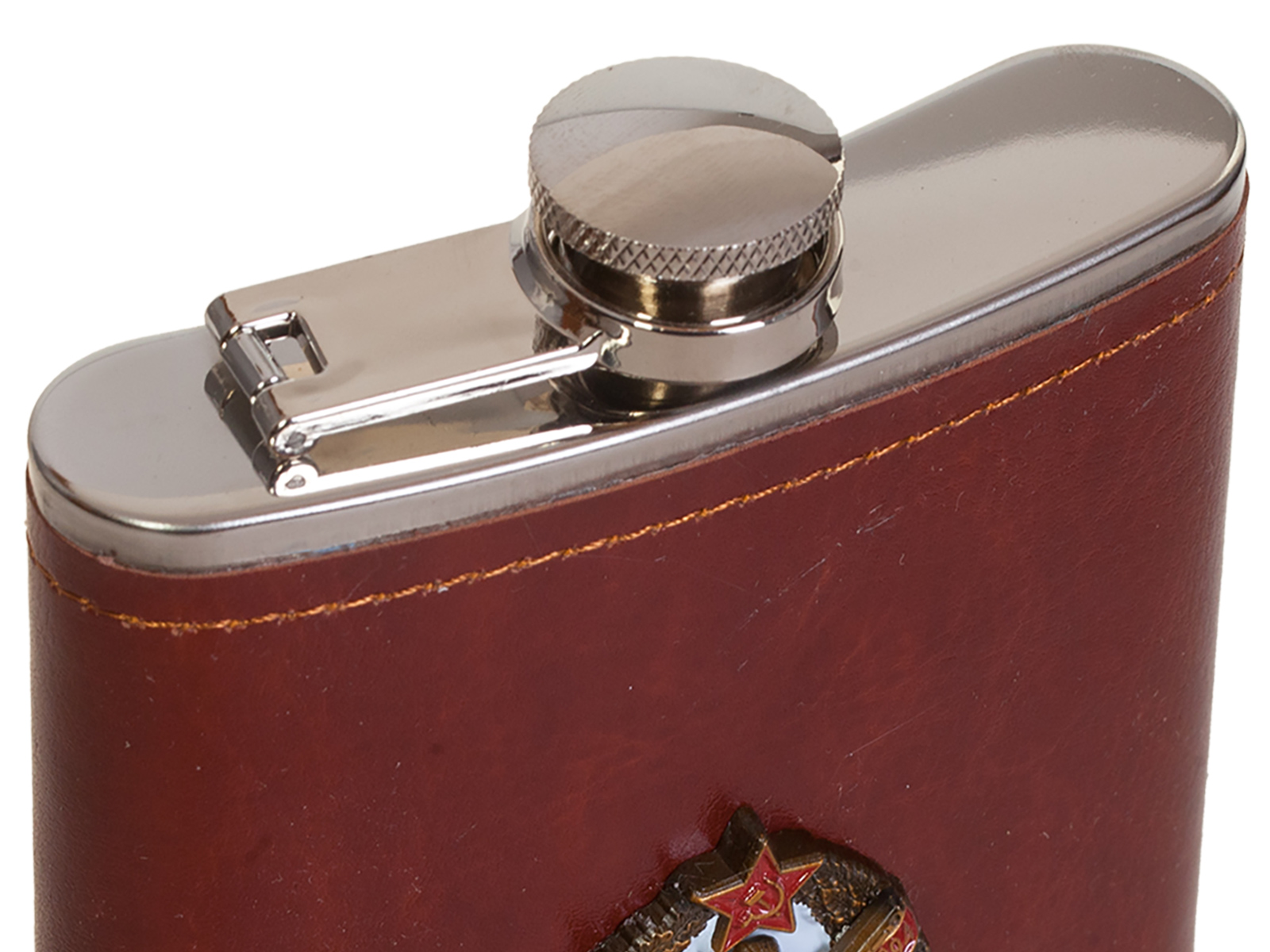 Карманная фляжка в кожаном чехле с накладкой ГСВГ - заказать в розницу