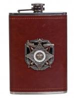 Карманная фляжка в кожаном чехле с накладкой Вооруженным силам 100 лет