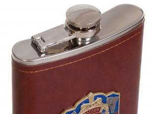 Карманная фляжка в кожаном чехле с накладкой За Уголовный Розыск - купить оптом