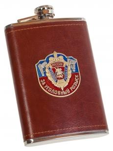 Карманная фляжка в кожаном чехле с накладкой За Уголовный Розыск - купить в подарок