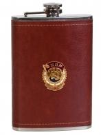 Карманная фляжка в кожаном чехле с Орденом Трудового Красного Знамени