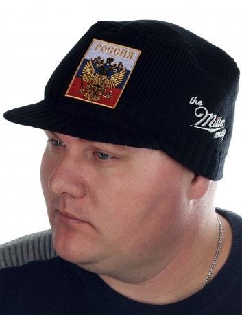 Мужская вязаная кепка Miller Way с Двуглавым Орлом на фоне российского триколора. Здесь ты можешь недорого купить шапку, которая тебе действительно идёт!