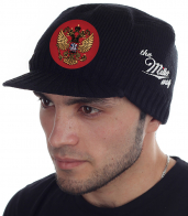 Вязаная мужская кепка Miller Way для холодной осени и зимы. Стильная модель с изображением Двуглавого орла. Фасон с коротким козырьком подходит ВСЕМ, главное – успей купить свой размер