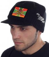 Мужская шапка-кепка Miller Way на сезон осень-зима. Официальная символика Пограничных войск, гладкая машинная вязка (НЕ колется), плотное облегание головы, короткий козырек