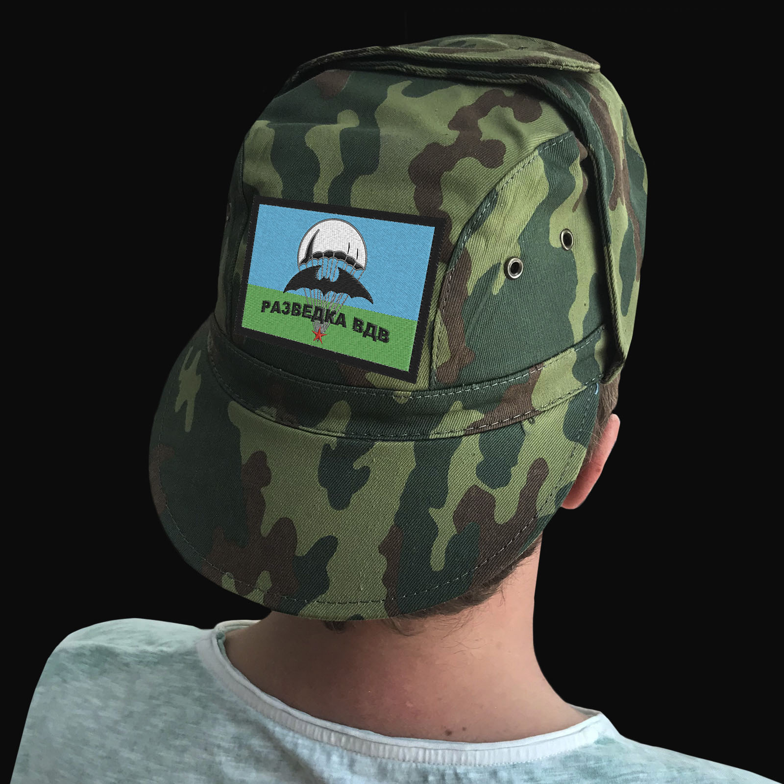 Камуфляжные мужские кепки с шевронами Разведка ВДВ