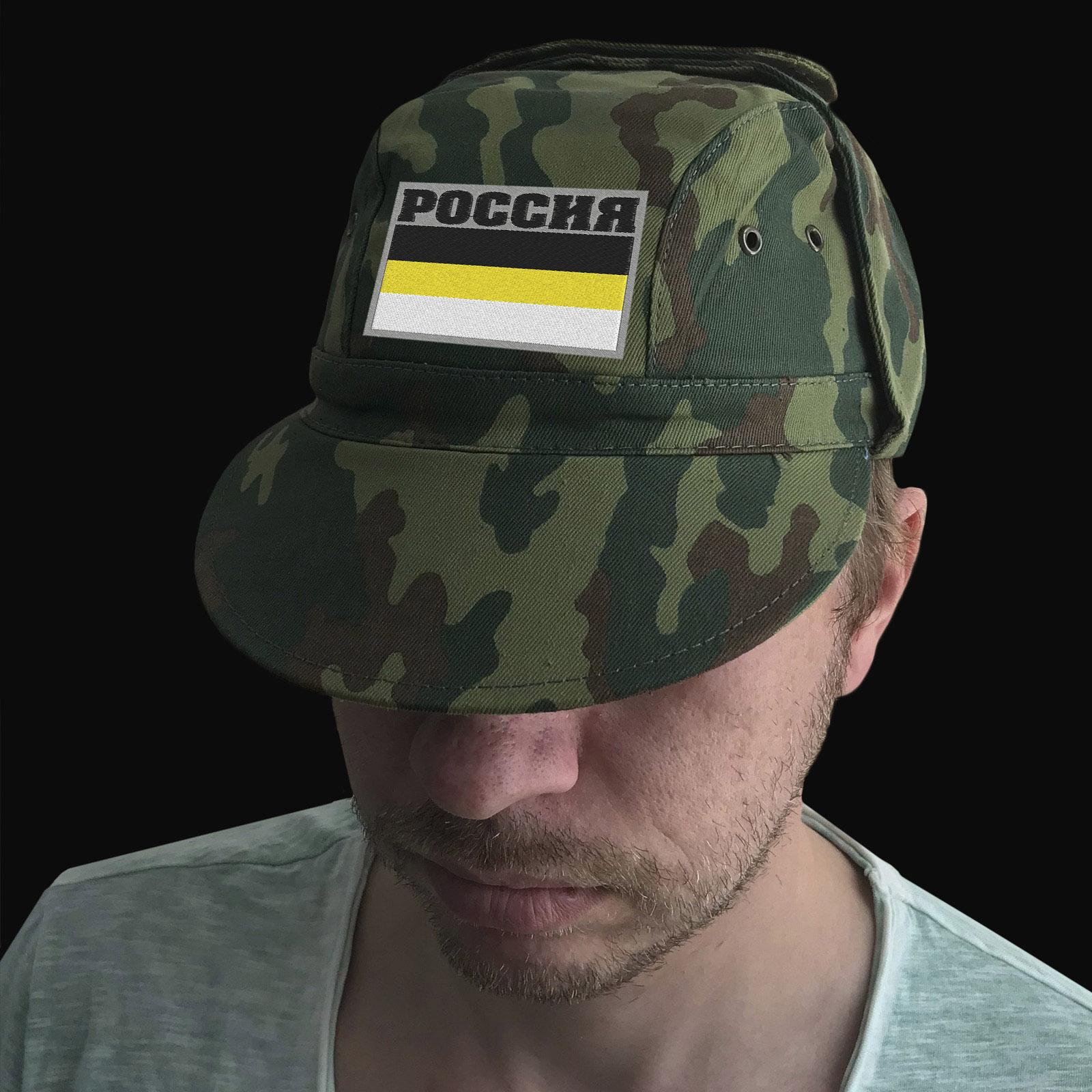 Военная кепка с вышивкой Россия на фоне Имперского флага