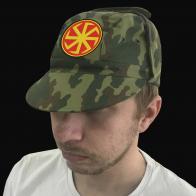 Милитари кепка с вышитым славянским оберегом Коловрат.