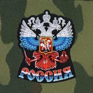 Камуфляжная кепка с триколорным Двуглавым Орлом России