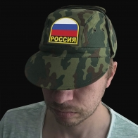 Милитари кепка с козырьком, ушами и шевроном Россия