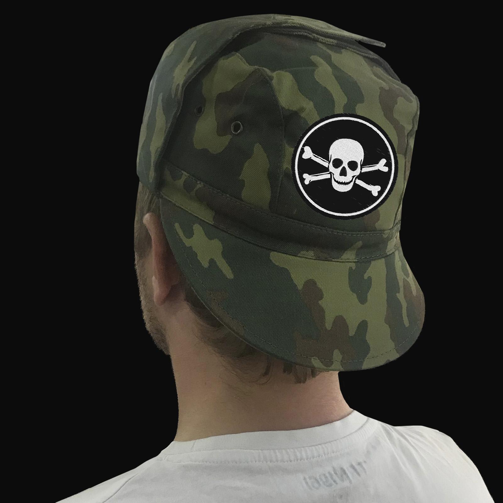 Камуфляжная кепка с люверсами и отложными ушами