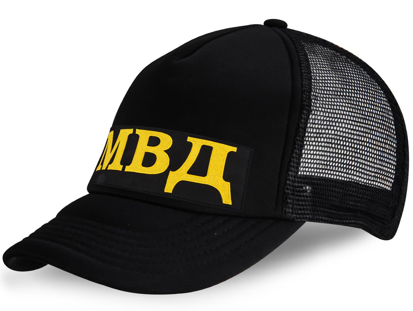 Кепка с вышивкой МВД черная.