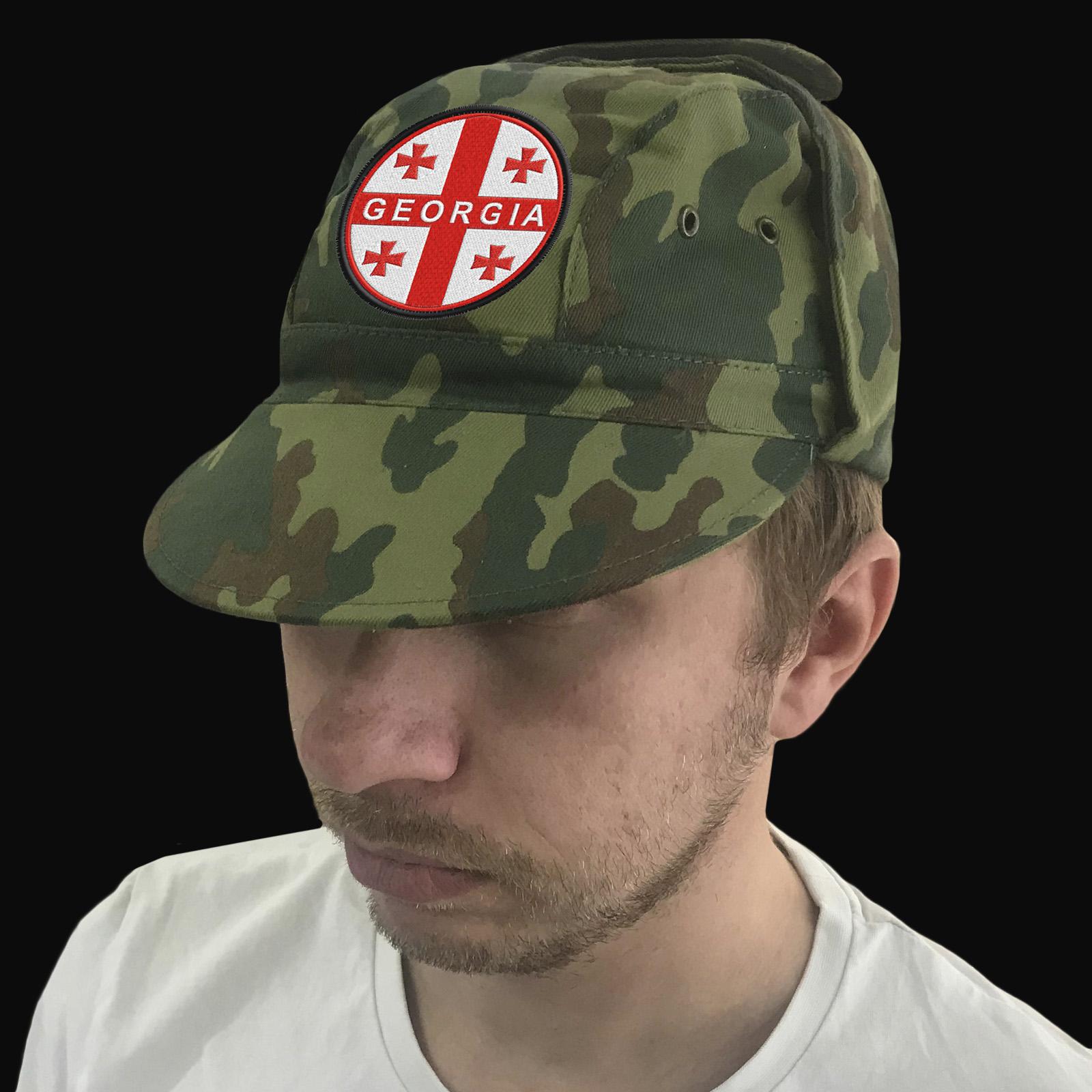 Мужская камуфляжная кепка с шевроном «Грузия».