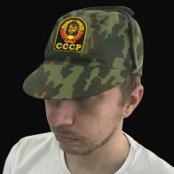 Камуфляжная мужская кепка с шевроном СССР