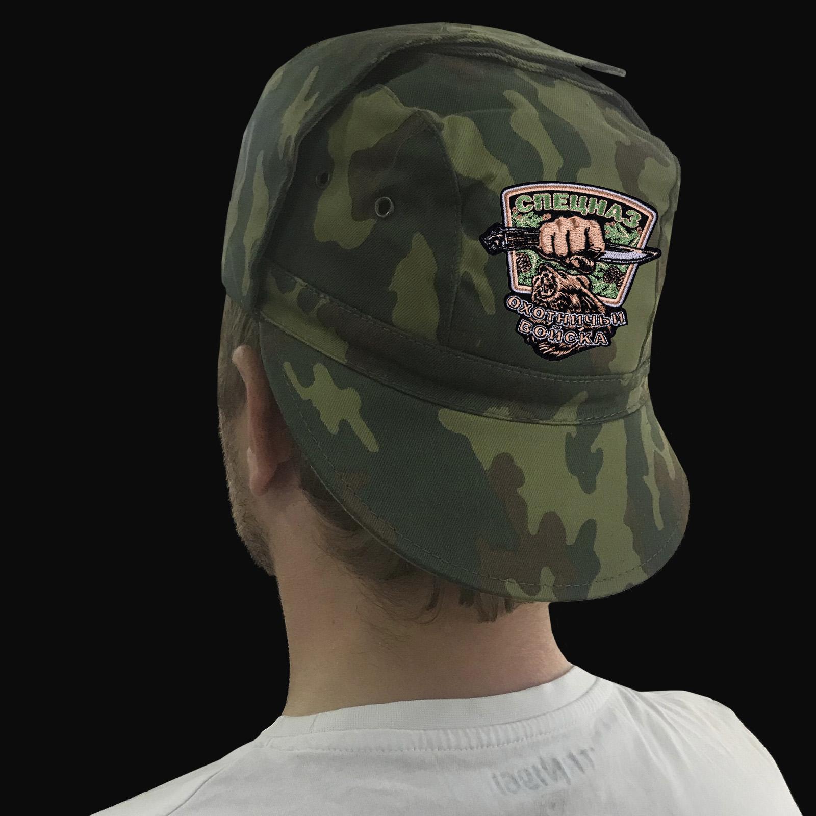Мужская натуральная кепка с вышивкой «Спецназ Охотничьих войск»