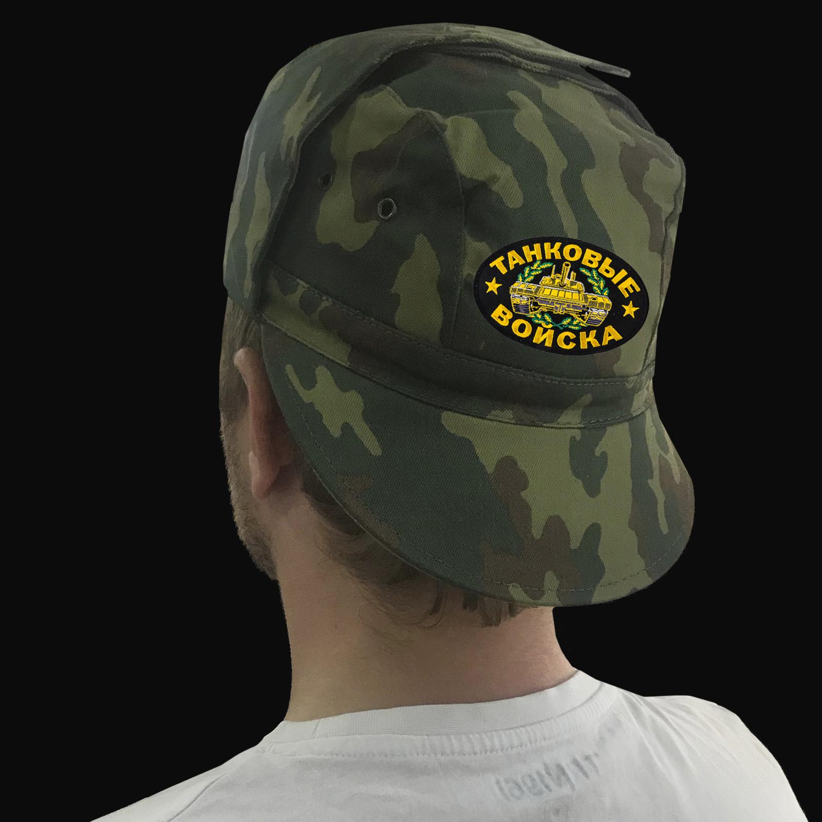 Купить на подарок танкисту камуфляжную кепку с шевроном