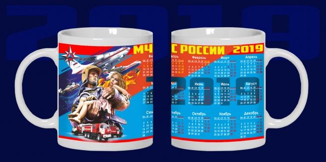 Керамическая кружка-календарь 2019 сотруднику МЧС России