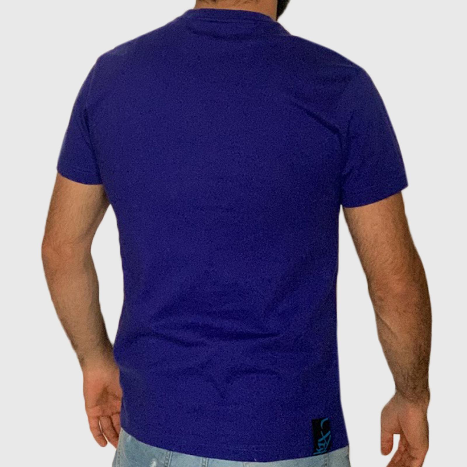 Мужская синяя футболка с принтом K1X
