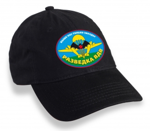 Классическая черная бейсболка с термотрансфером Разведка ВДВ