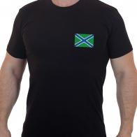 Классическая черная футболка с вышитым шевроном Морчасти Погранвойск