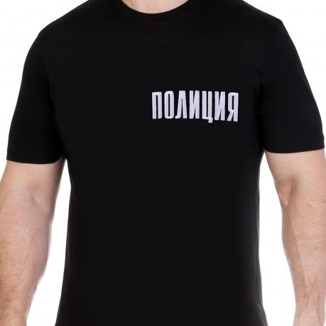 Классическая черная мужская футболка с нашивкой Полиция