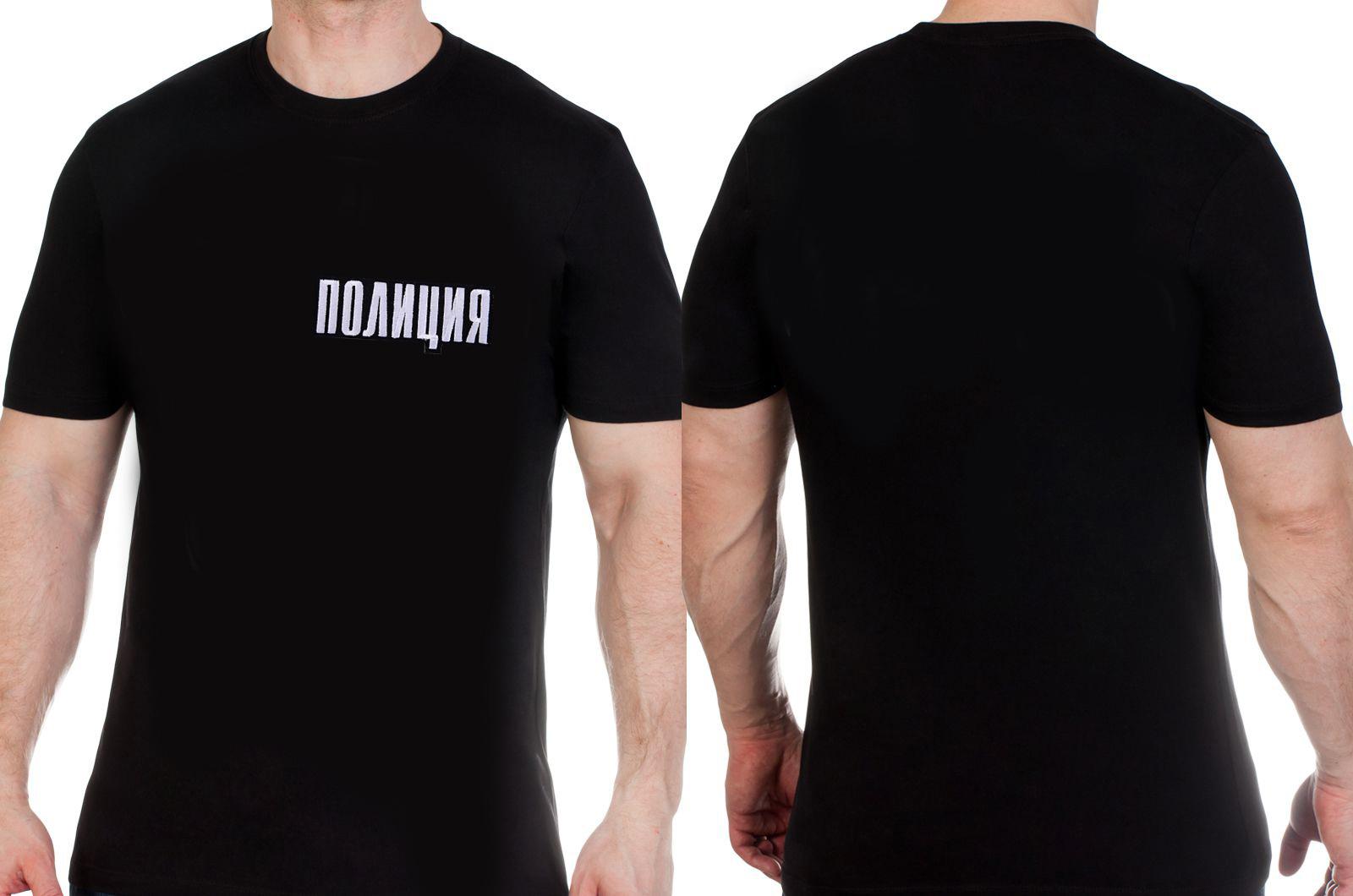 Классическая черная мужская футболка с нашивкой Полиция купить выгодно