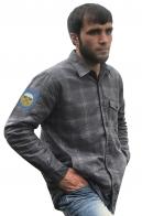 Классическая клетчатая рубашка с вышитым шевроном 242-го учебного центра ВДВ