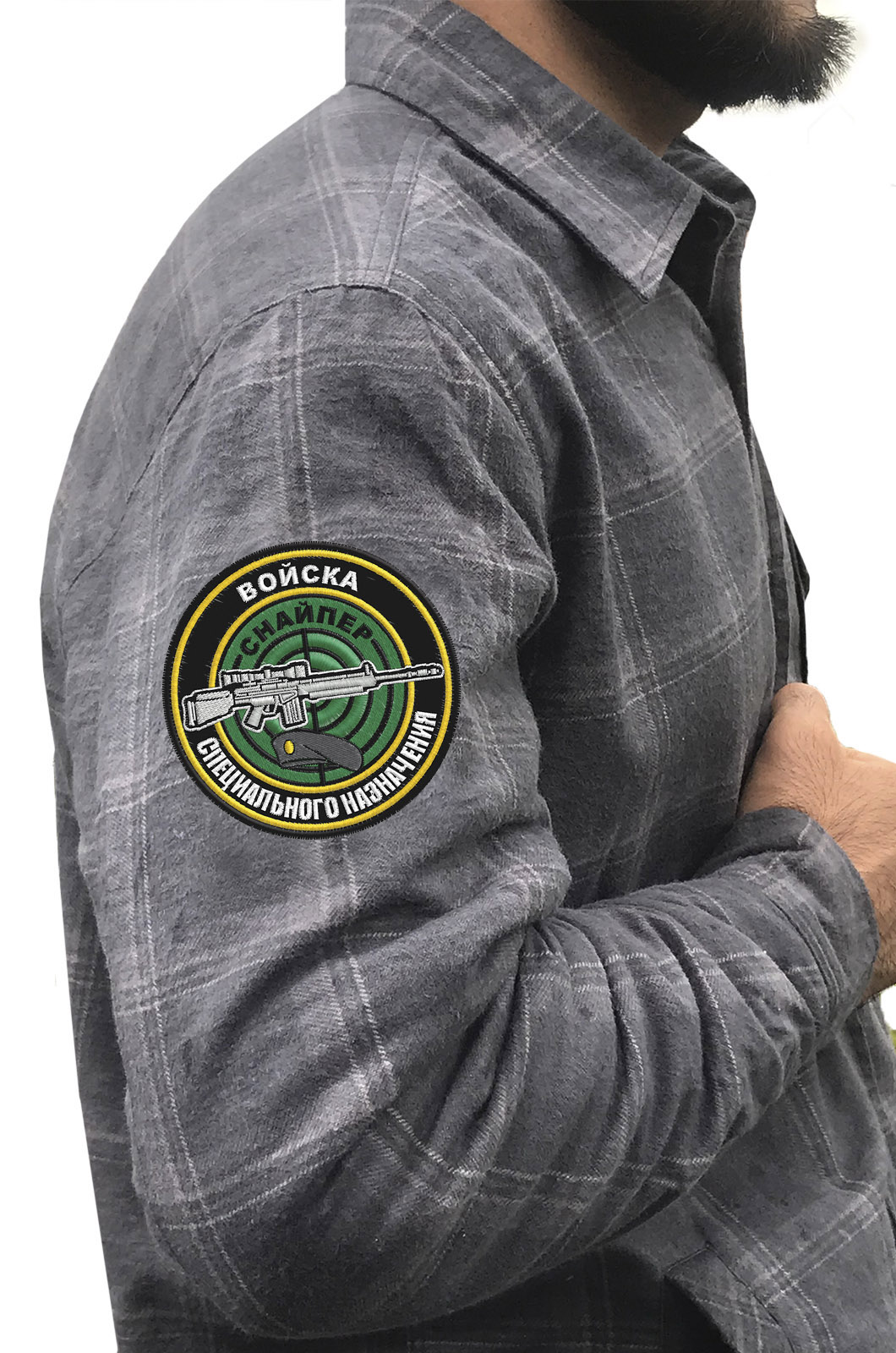 Классическая клетчатая рубашка с вышитым шевроном Снайпер - купить в Военпро