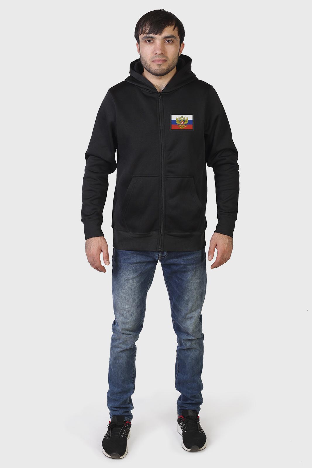 Классическая мужская толстовка с флагом РФ купить в подарок