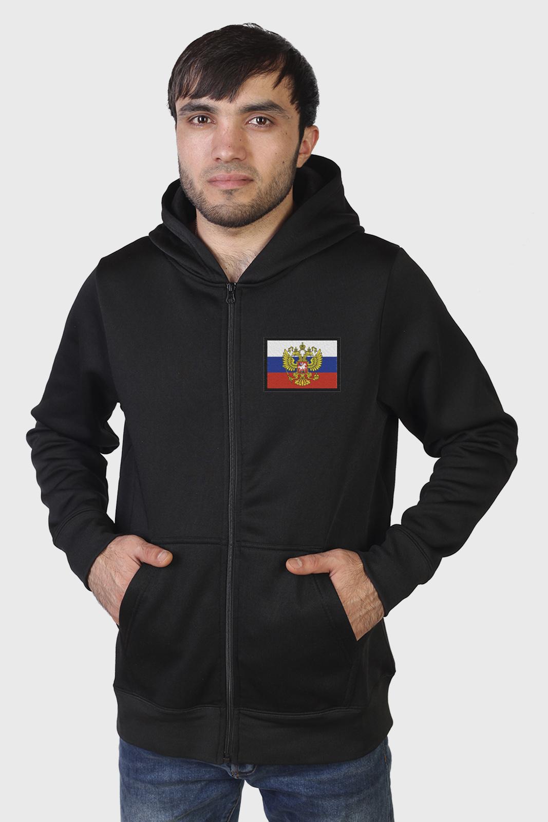 Классическая мужская толстовка с флагом РФ