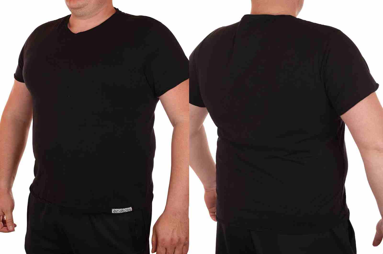 Классическая однотонная футболка от Cremieux (Франция)-двойной ракурс