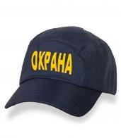 Классическая темная кепка-пятипанелька с термонаклейкой Охрана