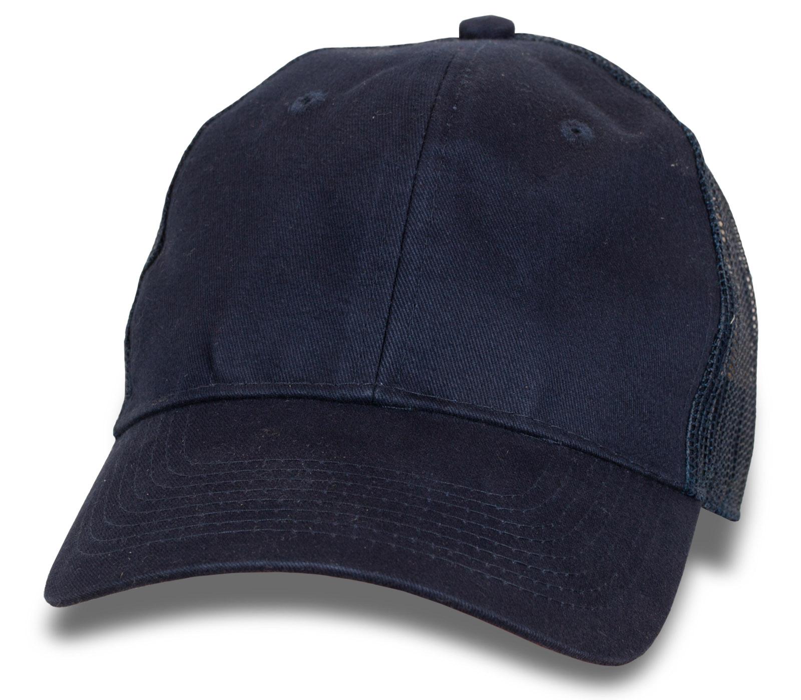 Классическая темно-синяя бейсболка с сеткой